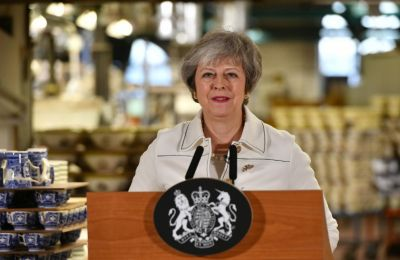 British Prime Minister Theresa May speaks during a visit to the Portmeirion factory in Stoke-on-Trent
