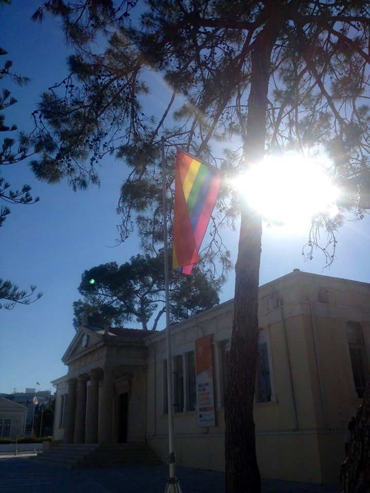 John Theophanous flies rainbow flag solo in Paphos May 2017
