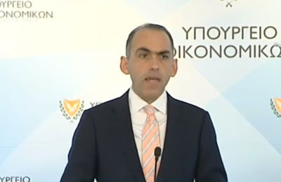 Cyprus Finance Minister Haris Georgiades speaking at a press conference in Nicosia