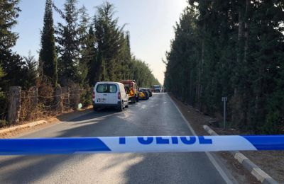 A local man was killed Sunday when his car crashed into row of trees and burst into flames in Akrotiri
